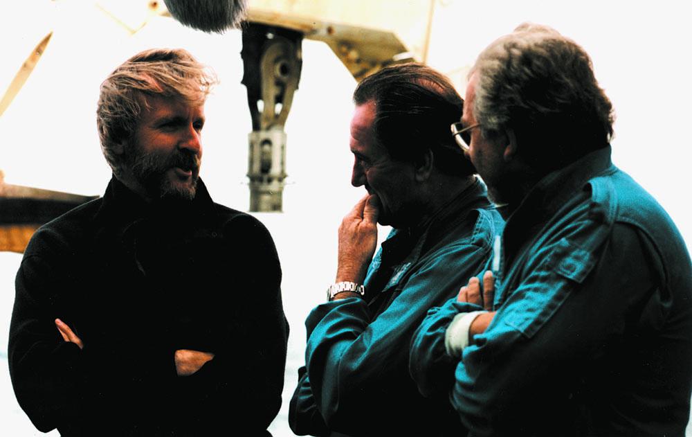 Jim Cameron and Giddings during Titanic shoot, 1997