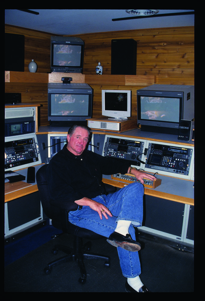 Giddings in high defenition editing suite, Montana studio, 2002