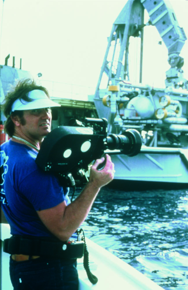 Giddings on film set, 1979