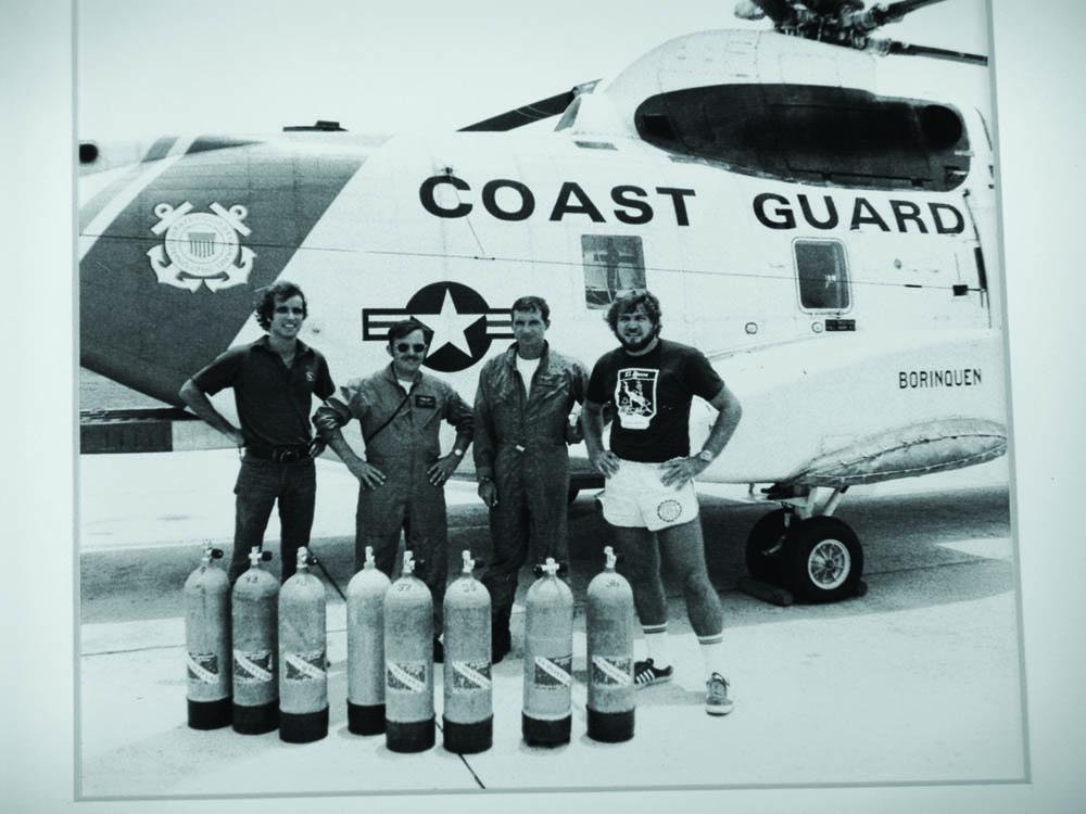 Bill Walker and Gilliam training Coast Guard Rescue teams, Puerto Rico, 1977