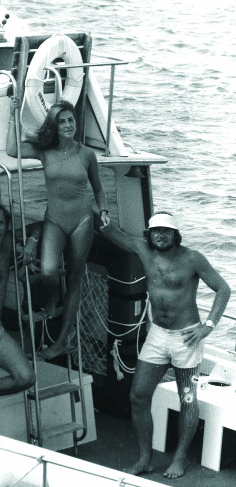 Hitchcock and Gilliam 1978 aboard dive boat