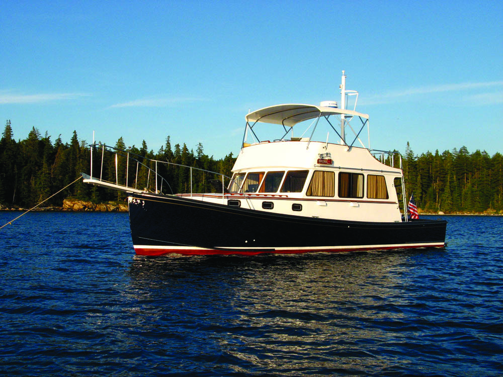 Gilliam's 48-ft, yacht Encore anchored off Stan Waterman's house, Sergentville, Maine, 2006