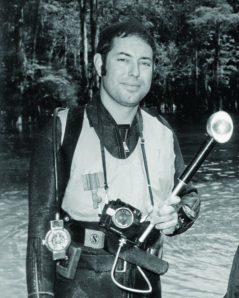 Paul with early Nikonos system, 1968