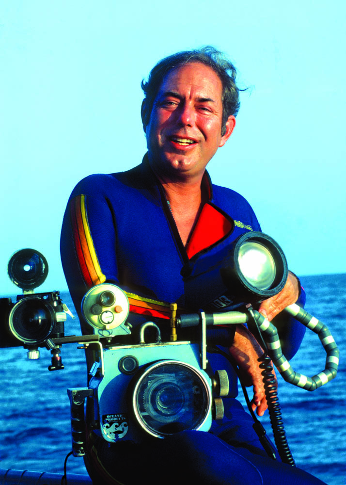 Humann with underwater camera rig, Caribbean, 1984