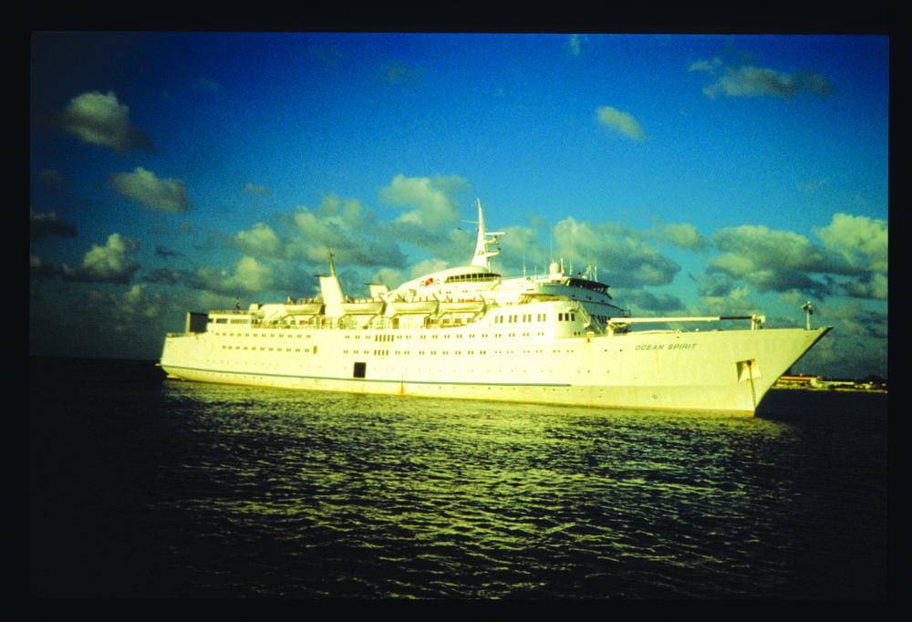 Ocean Spririt, the 20,000-ton flagship of Ocean Quest International, 1988