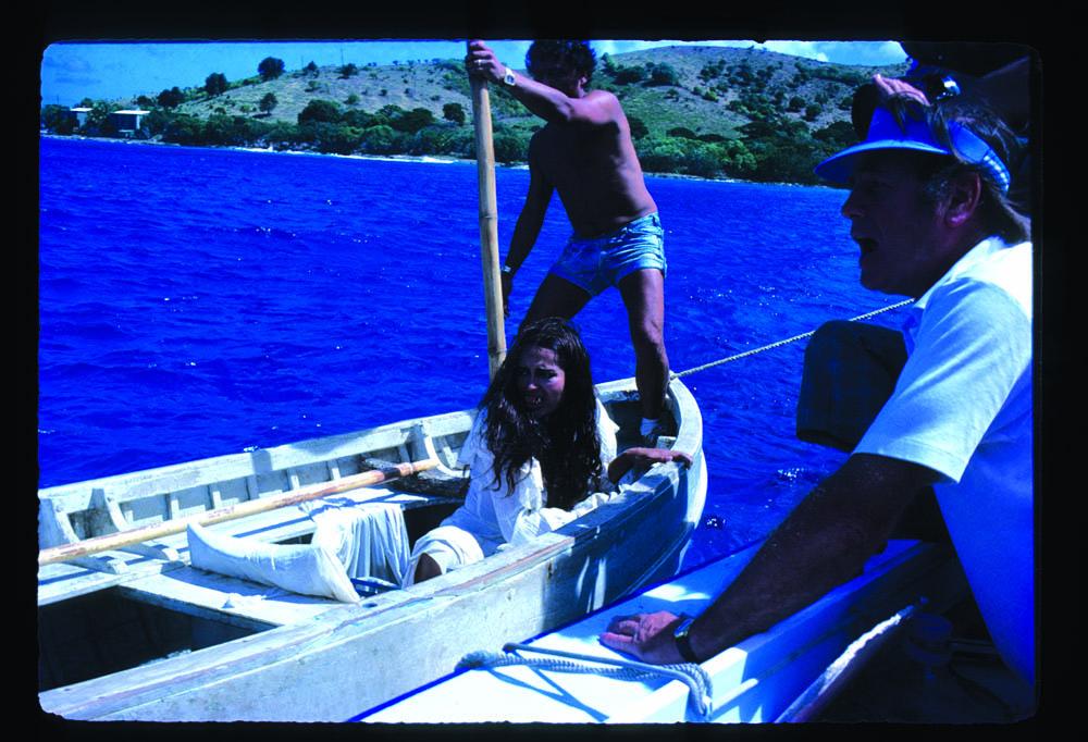 Barbara Carrera taking direction from Don Taylor