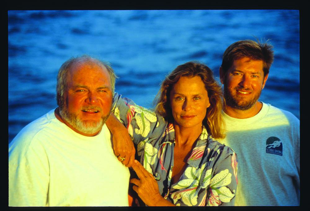 Gilliam, Hutton and Fred Garth aboard Sea Hunter, Cocos Island, 1998