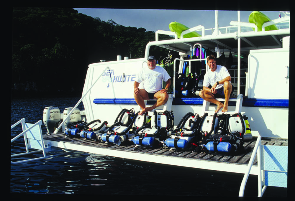 Gilliam and Garth aboard Sea Hunter with rebreathers, Cocos Island, 2002