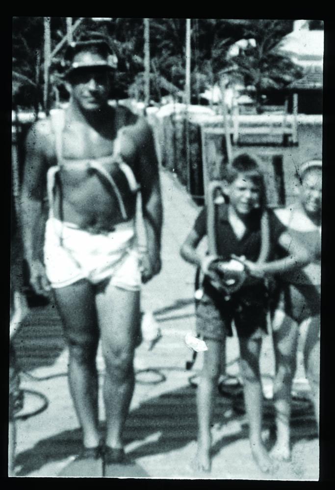 Cdr. Gill Gilliam and Bret, Bimini, 1959