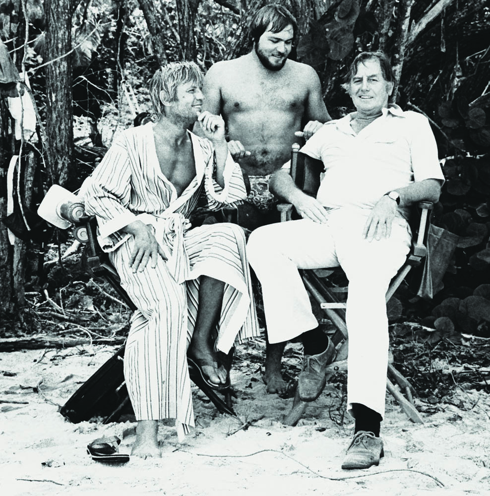 Michael York, Gilliam and director Don Taylor on set of Island of Dr. Moreau, St. Croix, 1977