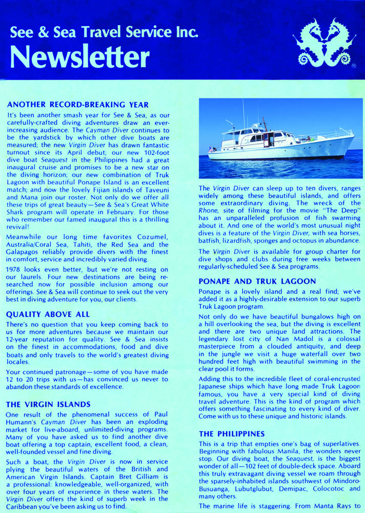 See & Sea Travel Service Inc. Newsletter