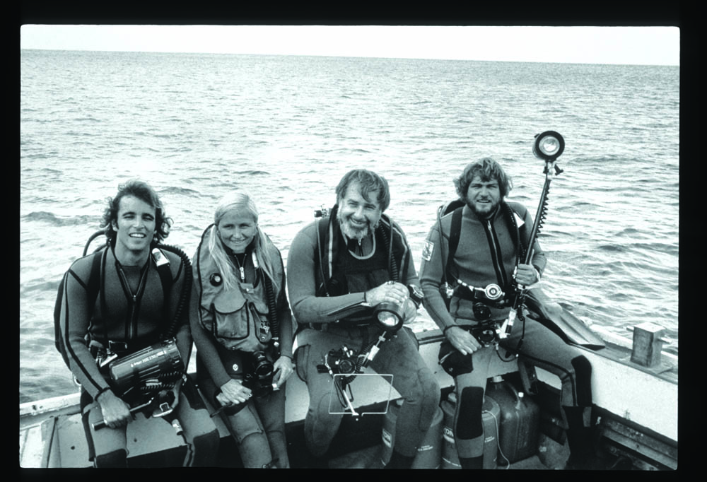 Bill Walker, Geri Murphy, Paul Tzimoulis and Gilliam aboard Virgin Diver, Cane Bay drop-off, St. Criox, 1977