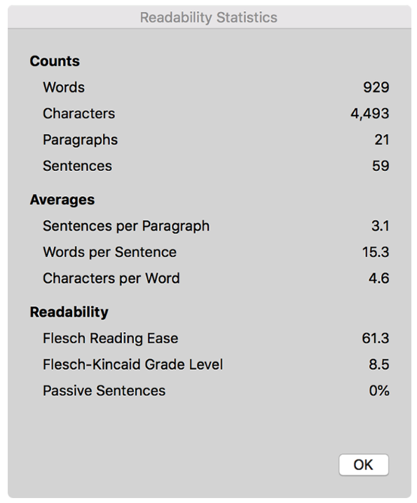 readability stats